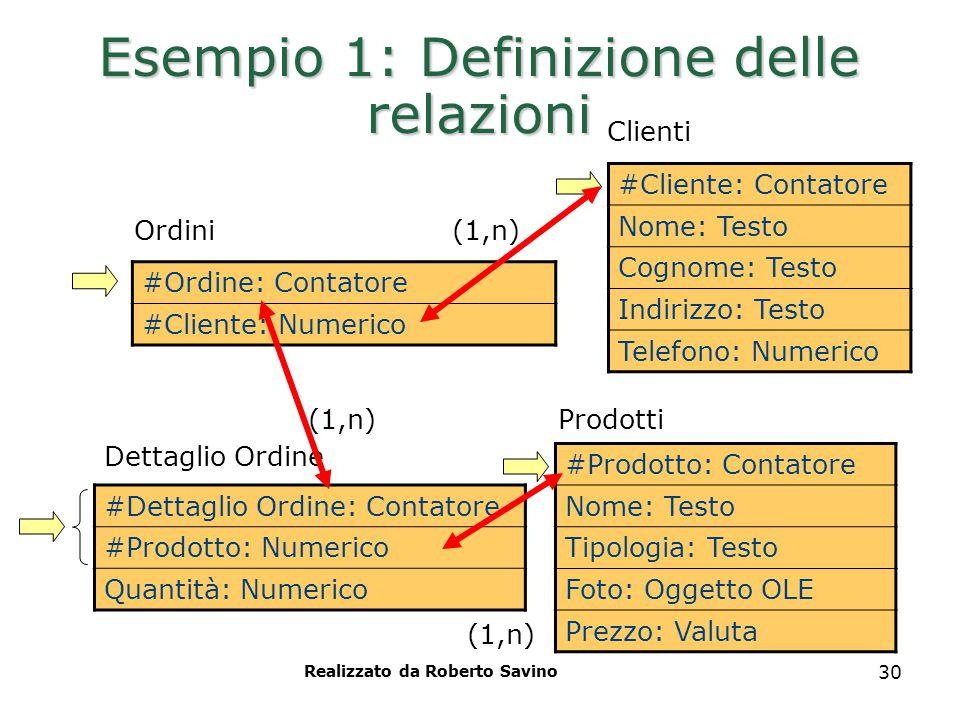 Realizzato da Roberto Savino 30 Esempio 1: Definizione delle relazioni #Ordine: Contatore #Cliente: Numerico Ordini Prodotti #Cliente: Contatore Nome:
