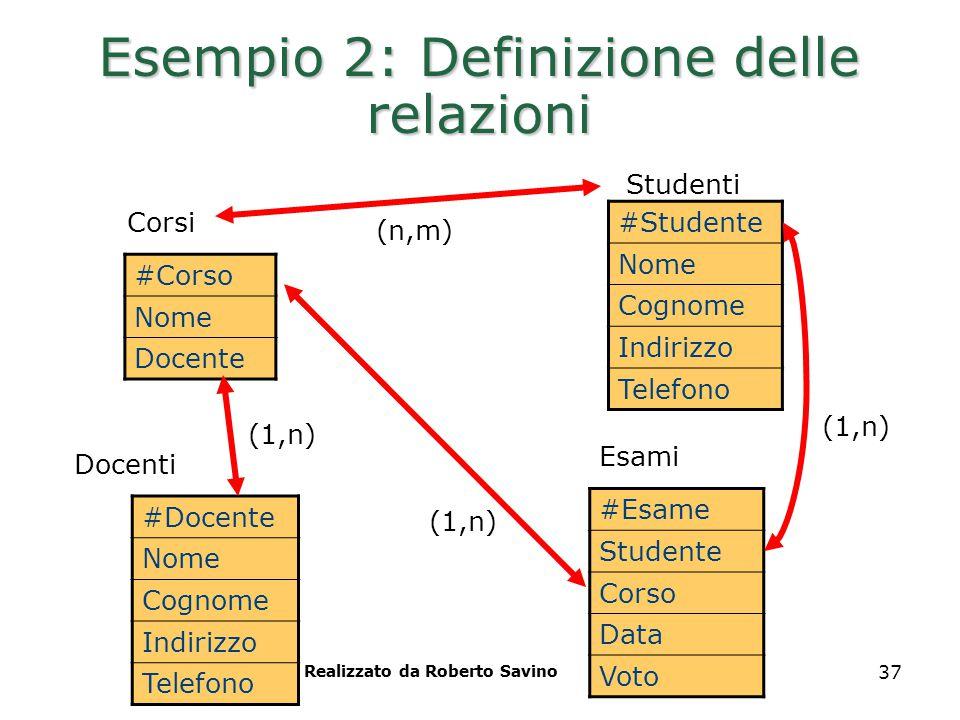 Realizzato da Roberto Savino 37 Esempio 2: Definizione delle relazioni #Corso Nome Docente Studenti Corsi Esami #Studente Nome Cognome Indirizzo Telef