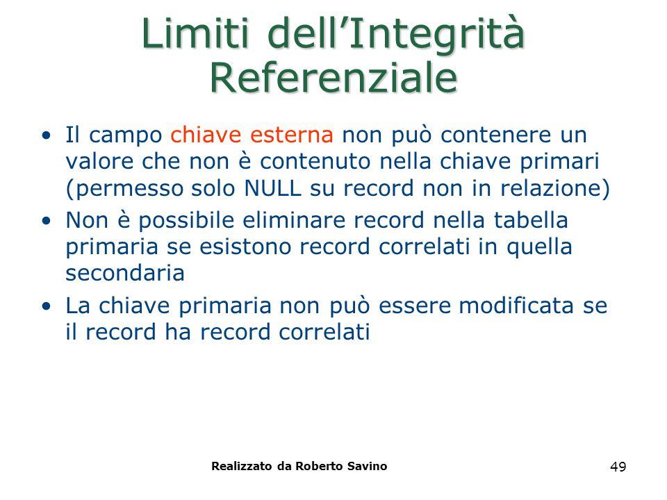 Realizzato da Roberto Savino 49 Limiti dell'Integrità Referenziale Il campo chiave esterna non può contenere un valore che non è contenuto nella chiav