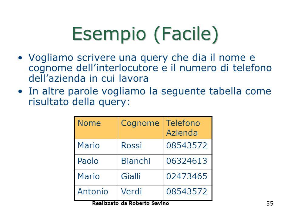 Realizzato da Roberto Savino 55 Esempio (Facile) Vogliamo scrivere una query che dia il nome e cognome dell'interlocutore e il numero di telefono dell