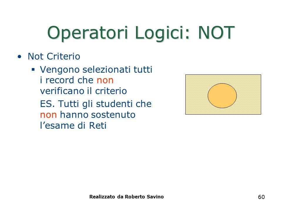 Realizzato da Roberto Savino 60 Operatori Logici: NOT Not Criterio  Vengono selezionati tutti i record che non verificano il criterio ES. Tutti gli s