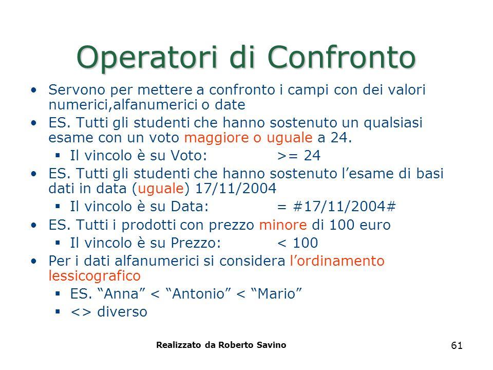 Realizzato da Roberto Savino 61 Operatori di Confronto Servono per mettere a confronto i campi con dei valori numerici,alfanumerici o date ES. Tutti g