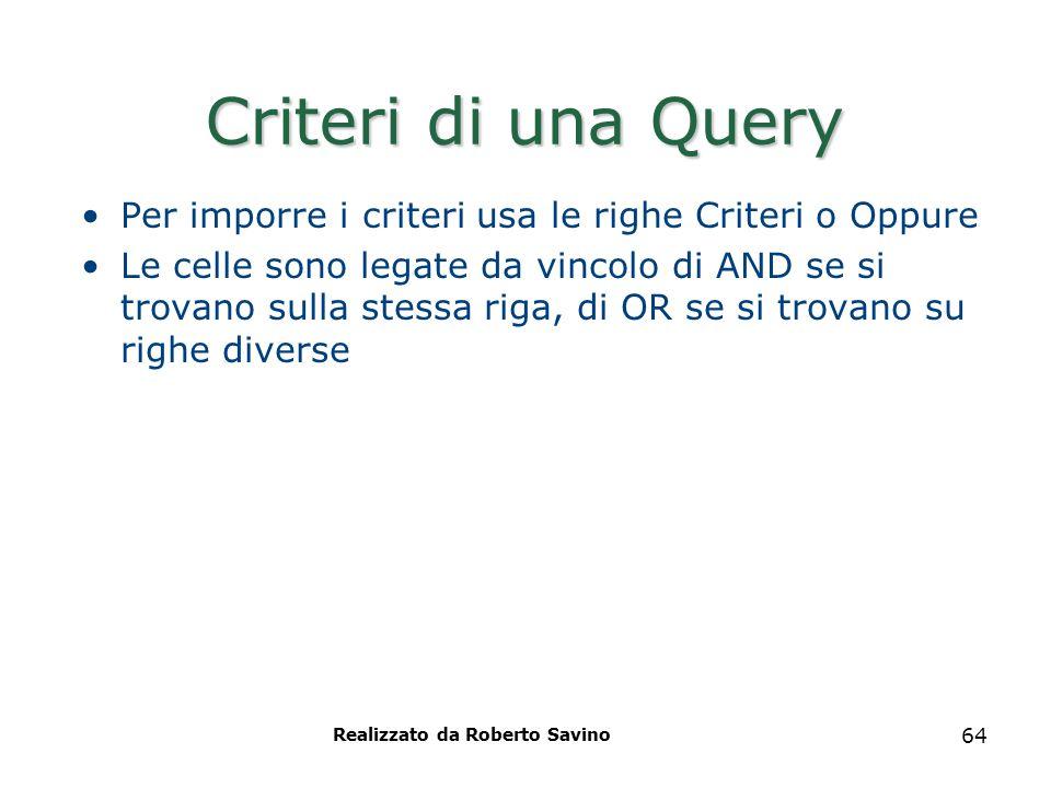 Realizzato da Roberto Savino 64 Criteri di una Query Per imporre i criteri usa le righe Criteri o Oppure Le celle sono legate da vincolo di AND se si