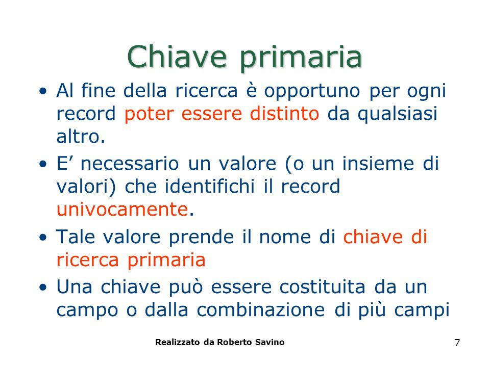 Realizzato da Roberto Savino 7 Chiave primaria Al fine della ricerca è opportuno per ogni record poter essere distinto da qualsiasi altro. E' necessar