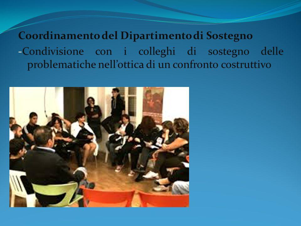Coordinamento del Dipartimento di Sostegno -Condivisione con i colleghi di sostegno delle problematiche nell'ottica di un confronto costruttivo