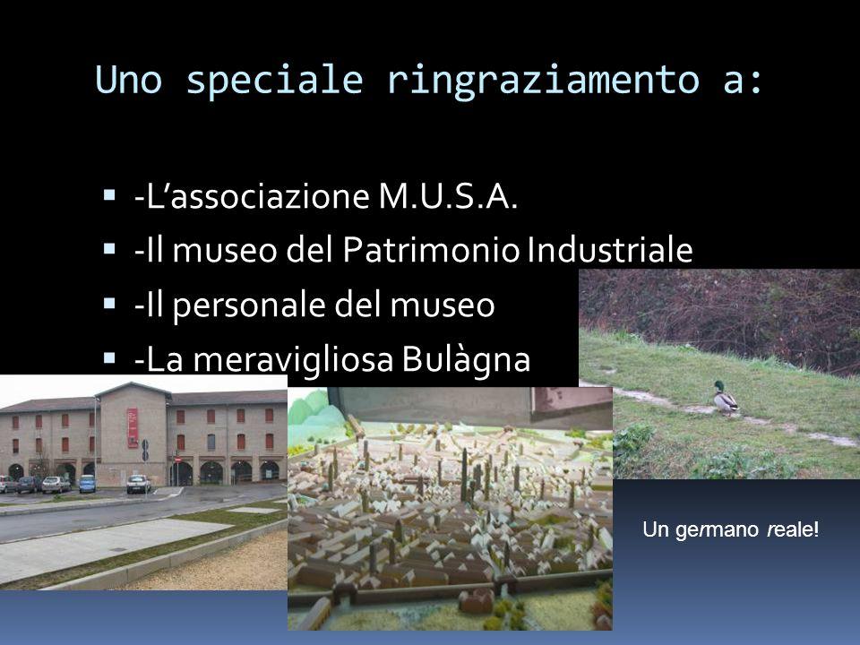 Uno speciale ringraziamento a:  -L'associazione M.U.S.A.  -Il museo del Patrimonio Industriale  -Il personale del museo  -La meravigliosa Bulàgna