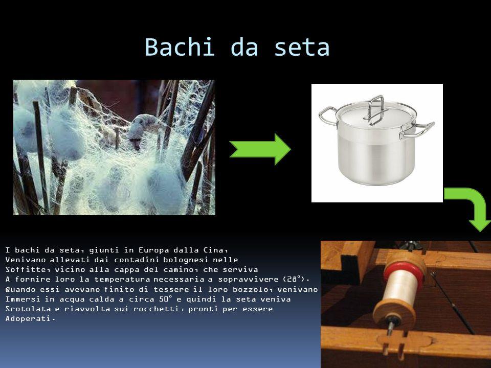 Innovazioni nel torcere la seta Lucca: 50/60 rocchetti Bologna: 5000 rocchetti Energia meccanica Energia idraulica