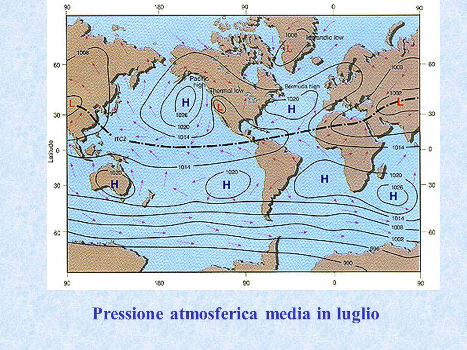 Pressione atmosferica media in luglio