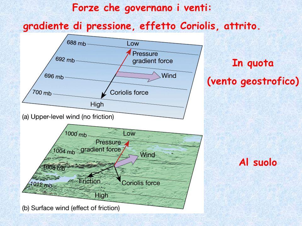 Forze che governano i venti: gradiente di pressione, effetto Coriolis, attrito. In quota (vento geostrofico) Al suolo