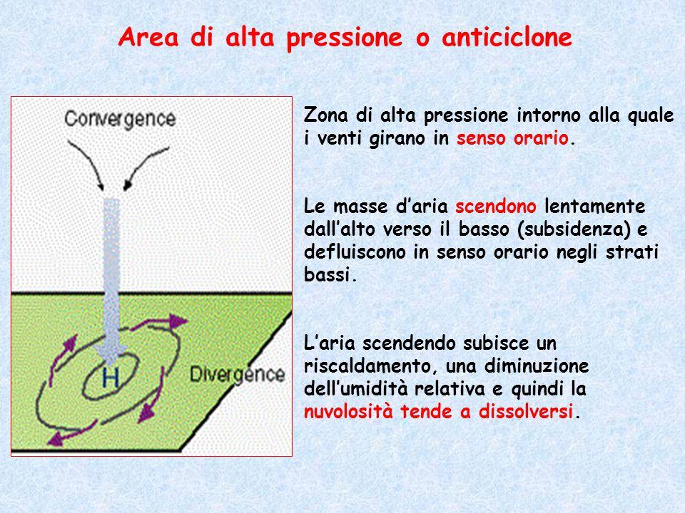 Zona di alta pressione intorno alla quale i venti girano in senso orario. Le masse d'aria scendono lentamente dall'alto verso il basso (subsidenza) e