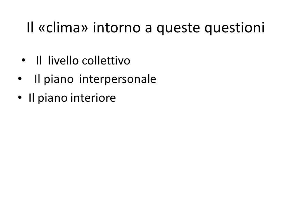 Il «clima» intorno a queste questioni Il livello collettivo Il piano interpersonale Il piano interiore 4