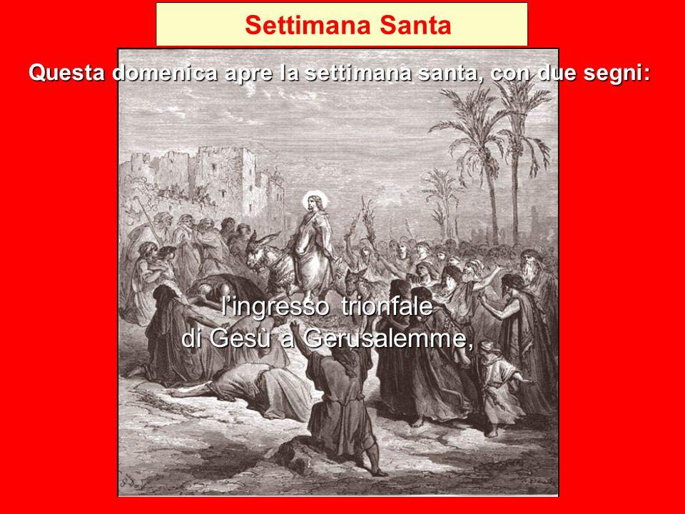 Settimana Santa l'ingresso trionfale di Gesù a Gerusalemme, Questa domenica apre la settimana santa, con due segni: