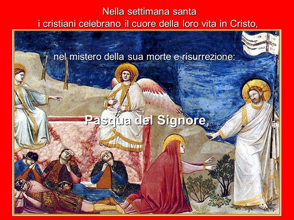 Nella settimana santa nel mistero della sua morte e risurrezione: i cristiani celebrano il cuore della loro vita in Cristo, Pasqua del Signore,