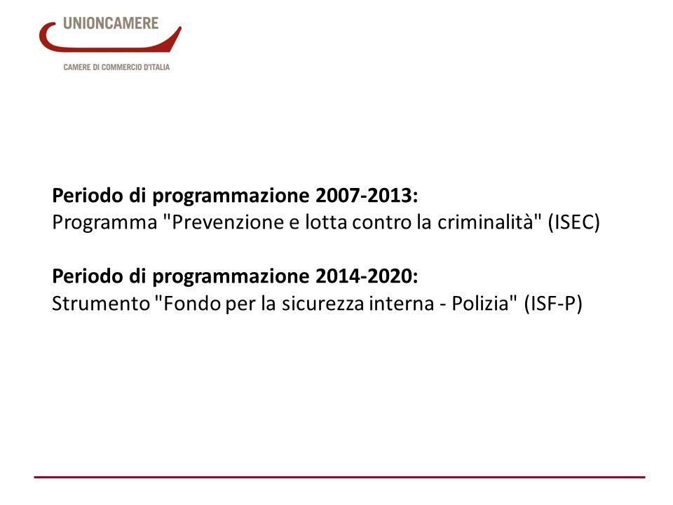 Periodo di programmazione 2007-2013: Programma Prevenzione e lotta contro la criminalità (ISEC) Periodo di programmazione 2014-2020: Strumento Fondo per la sicurezza interna - Polizia (ISF-P)