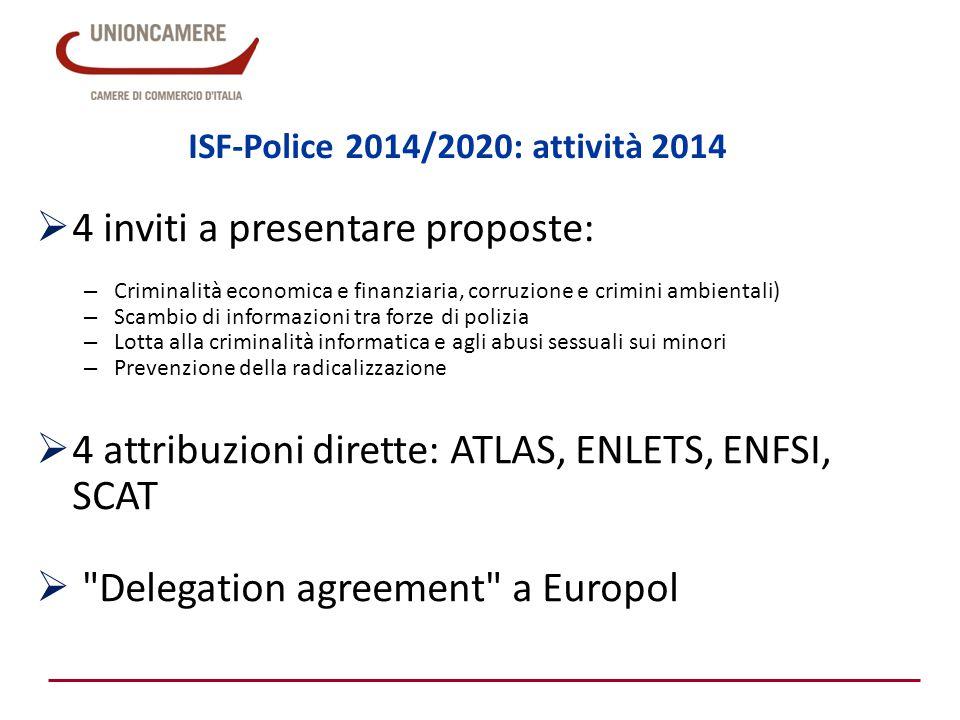 ISF-Police 2014/2020: attività 2015 Programma di lavoro annuale ISF-P Union actions 2015 adottato 8 giugno 2015: http://ec.europa.eu/dgs/home-affairs/financing/fundings/security-and-safeguarding- liberties/internal-security-fund-police/union-actions/index_en.htm http://ec.europa.eu/dgs/home-affairs/financing/fundings/security-and-safeguarding- liberties/internal-security-fund-police/union-actions/index_en.htm Attività previste:  4 inviti a presentare proposte  2 inviti a presentare proposte riservati agli Stati Membri: – Interconnessione delle unità PIU (scambio di dati PNR) – Iniziativa Migrazione attraverso il Corno d Africa«  Attribuzioni dirette: MAOC-N, ATLAS, AIRPOL