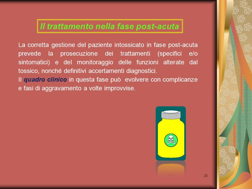20 Il trattamento nella fase post-acuta La corretta gestione del paziente intossicato in fase post-acuta prevede la prosecuzione dei trattamenti (spec