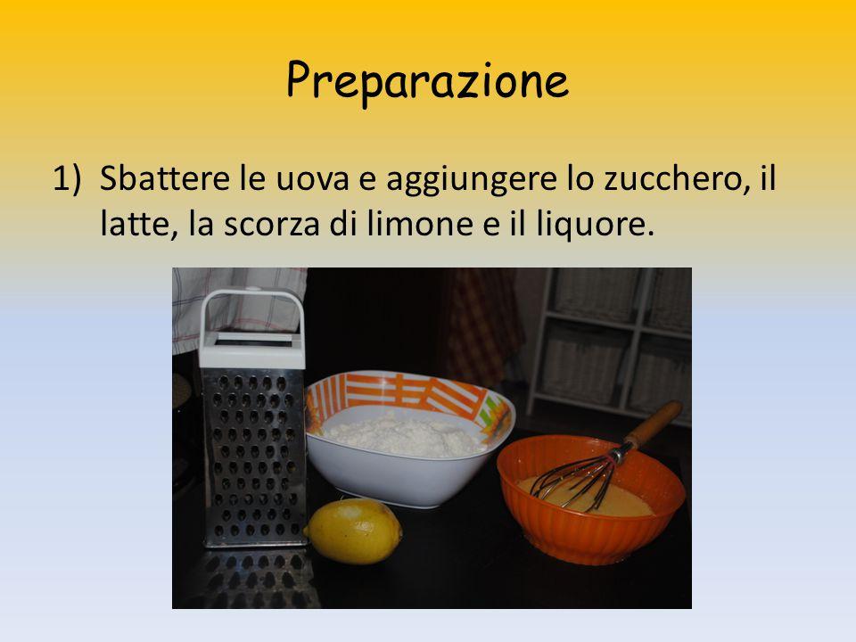 Preparazione 1)Sbattere le uova e aggiungere lo zucchero, il latte, la scorza di limone e il liquore.