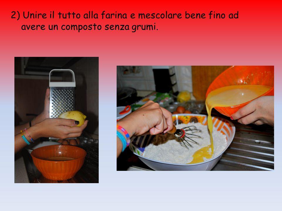 2) Unire il tutto alla farina e mescolare bene fino ad avere un composto senza grumi.