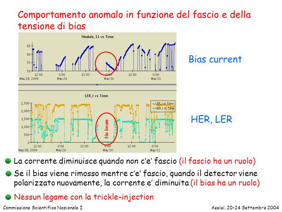 Commissione Scientifica Nazionale IAssisi, 20-24 Settembre 2004 Comportamento anomalo in funzione del fascio e della tensione di bias HER, LER Bias current La corrente diminuisce quando non c'e' fascio (il fascio ha un ruolo) Se il bias viene rimosso mentre c'e' fascio, quando il detector viene polarizzato nuovamente, la corrente e' diminuita (il bias ha un ruolo) Nessun legame con la trickle-injection No beam