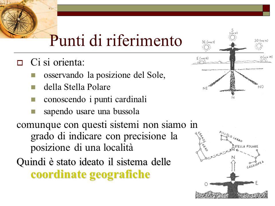 Punti di riferimento  Ci si orienta: osservando la posizione del Sole, della Stella Polare conoscendo i punti cardinali sapendo usare una bussola com