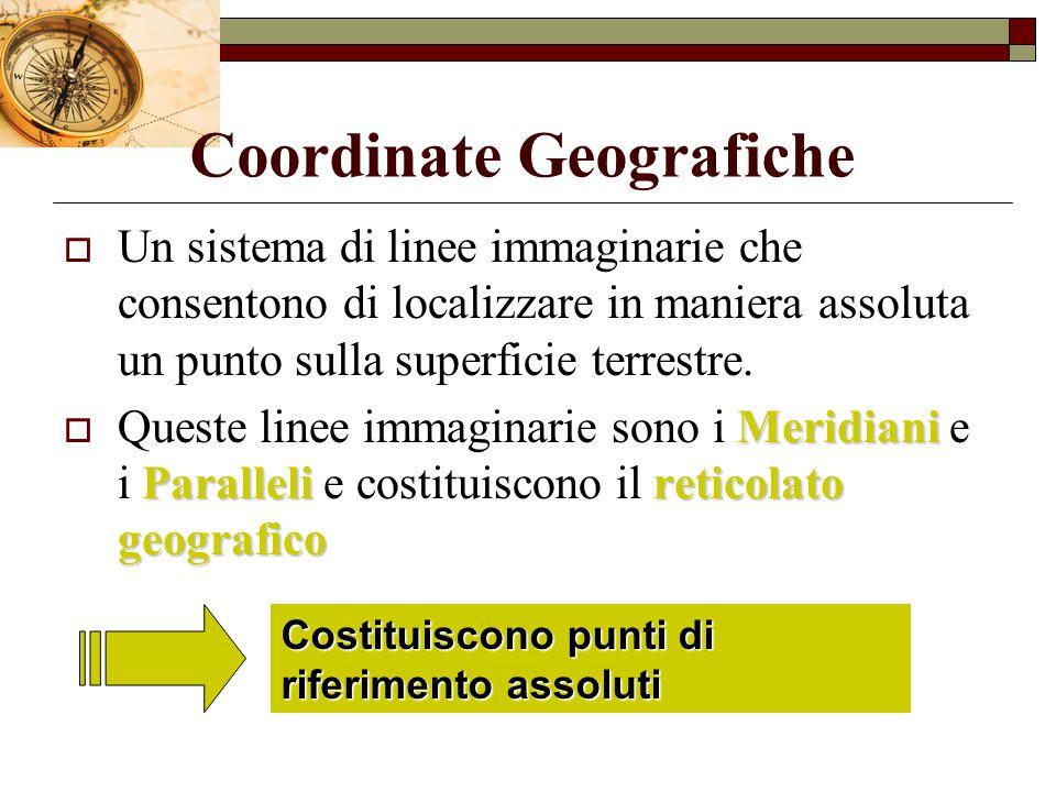 Coordinate Geografiche  Un sistema di linee immaginarie che consentono di localizzare in maniera assoluta un punto sulla superficie terrestre. Meridi