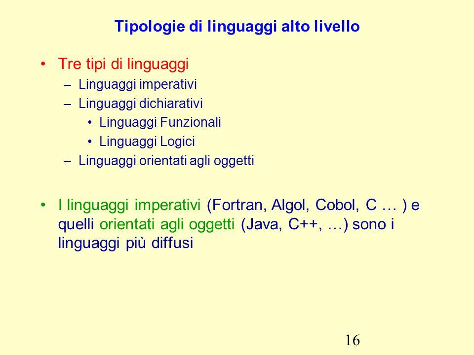 16 Tipologie di linguaggi alto livello Tre tipi di linguaggi –Linguaggi imperativi –Linguaggi dichiarativi Linguaggi Funzionali Linguaggi Logici –Linguaggi orientati agli oggetti I linguaggi imperativi (Fortran, Algol, Cobol, C … ) e quelli orientati agli oggetti (Java, C++, …) sono i linguaggi più diffusi