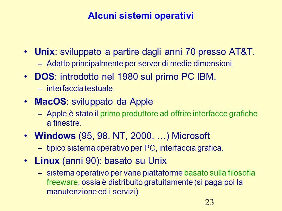 23 Alcuni sistemi operativi Unix: sviluppato a partire dagli anni 70 presso AT&T.