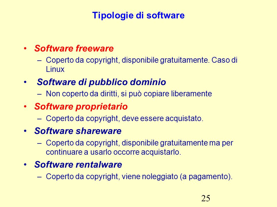 25 Tipologie di software Software freeware –Coperto da copyright, disponibile gratuitamente.