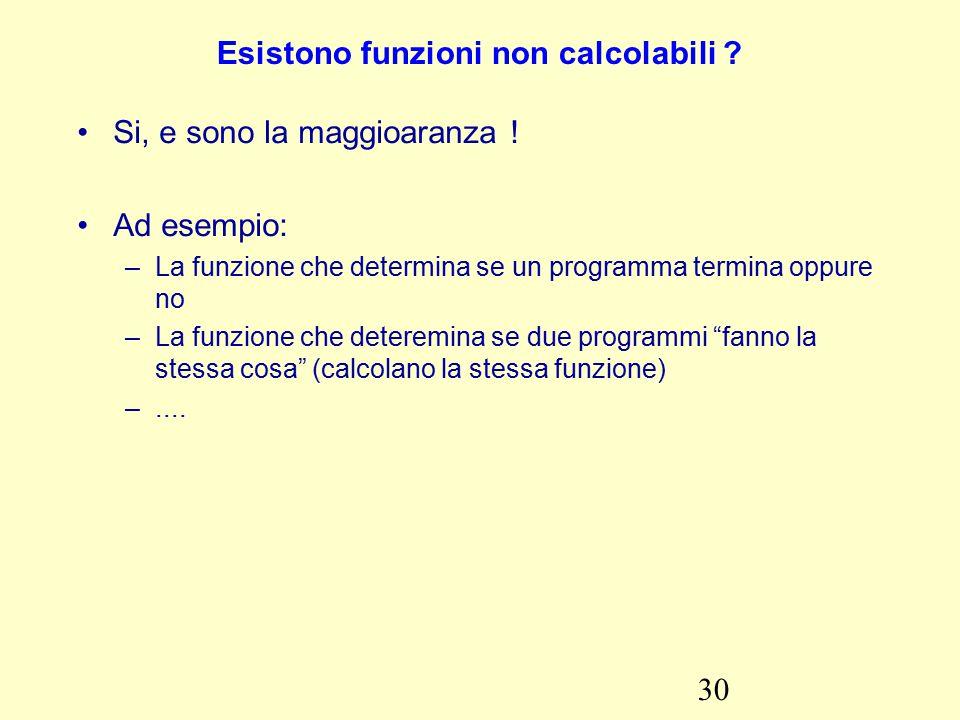 30 Esistono funzioni non calcolabili . Si, e sono la maggioaranza .