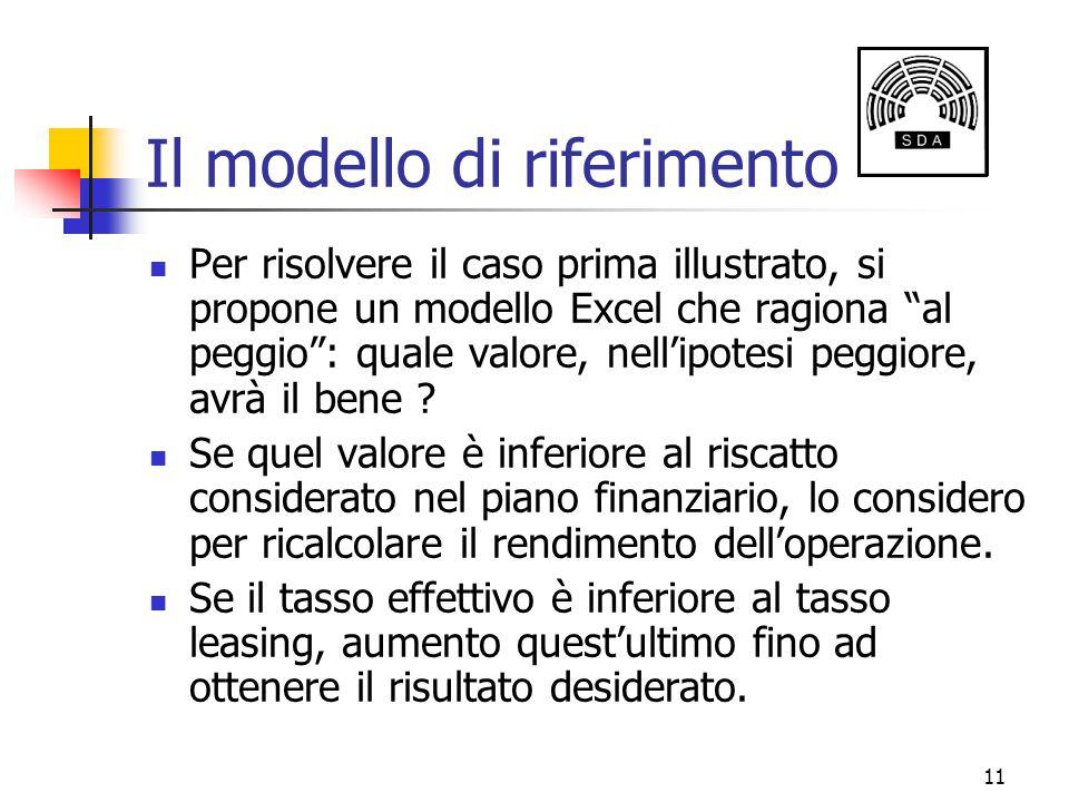 """11 Il modello di riferimento Per risolvere il caso prima illustrato, si propone un modello Excel che ragiona """"al peggio"""": quale valore, nell'ipotesi p"""