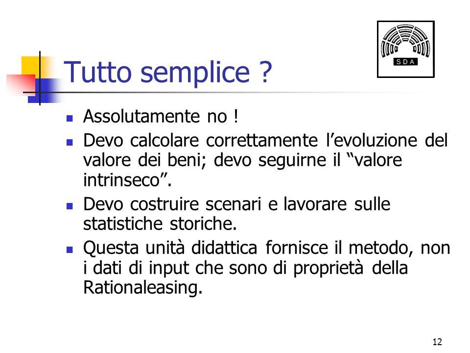 """12 Tutto semplice ? Assolutamente no ! Devo calcolare correttamente l'evoluzione del valore dei beni; devo seguirne il """"valore intrinseco"""". Devo costr"""