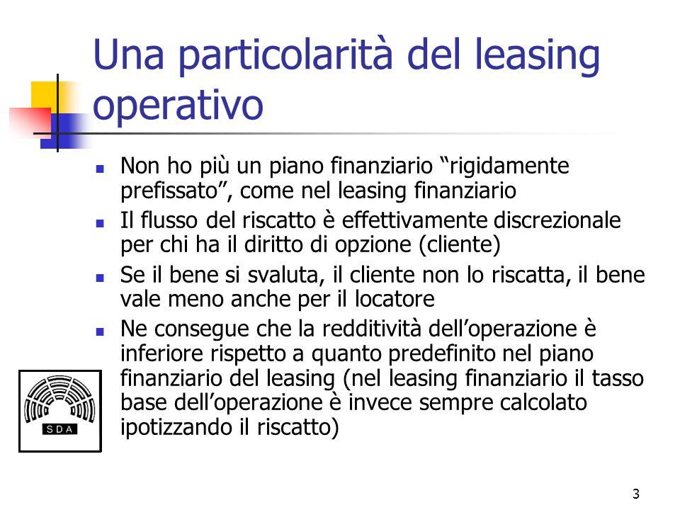 """3 Una particolarità del leasing operativo Non ho più un piano finanziario """"rigidamente prefissato"""", come nel leasing finanziario Il flusso del riscatt"""