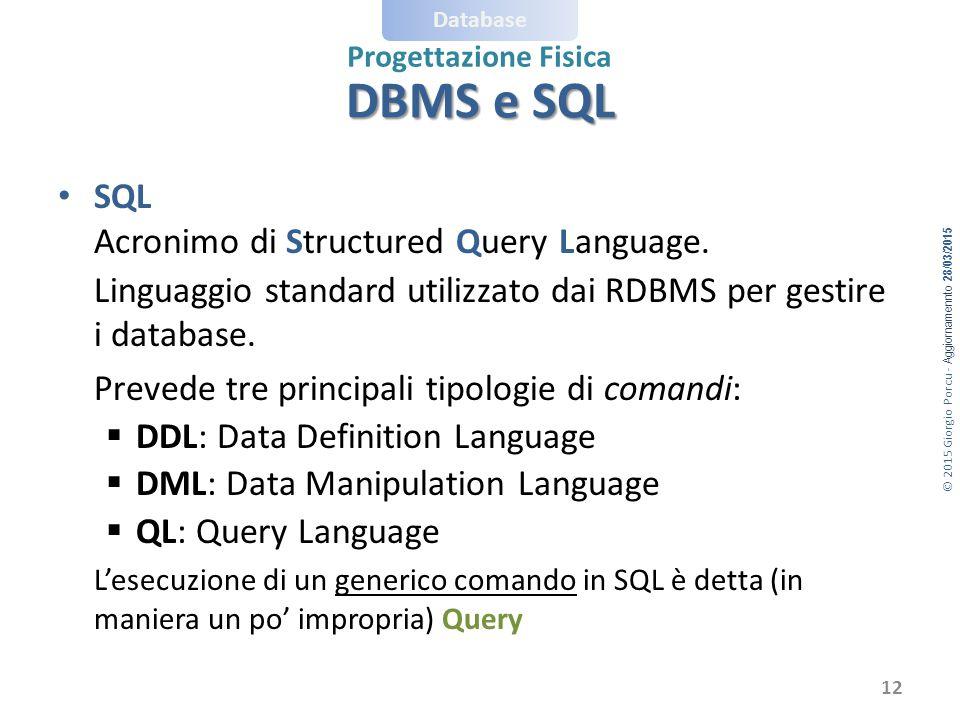 © 2015 Giorgio Porcu - Aggiornamennto 28/03/2015 Database Progettazione Fisica DBMS e SQL SQL Acronimo di Structured Query Language.