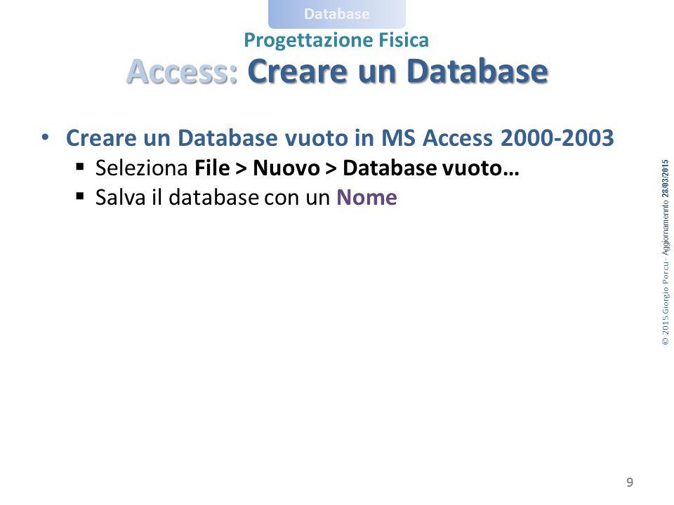 © 2015 Giorgio Porcu - Aggiornamennto 28/03/2015 Database Progettazione Fisica Access: Creare un Database Creare un Database vuoto in MS Access 2000-2003  Seleziona File > Nuovo > Database vuoto…  Salva il database con un Nome 9