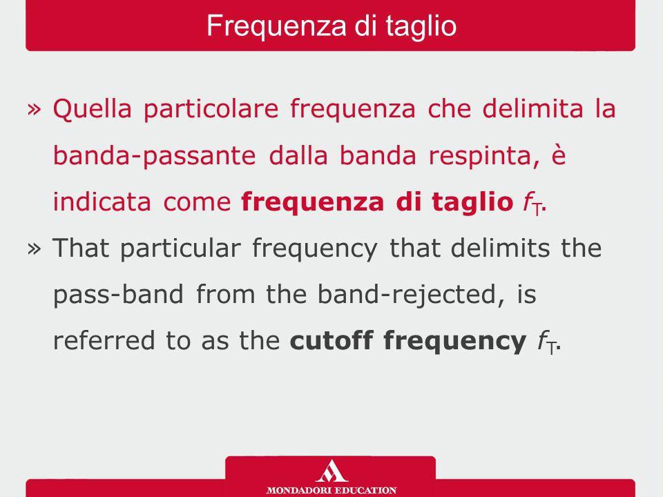 »Quella particolare frequenza che delimita la banda-passante dalla banda respinta, è indicata come frequenza di taglio f T. »That particular frequency