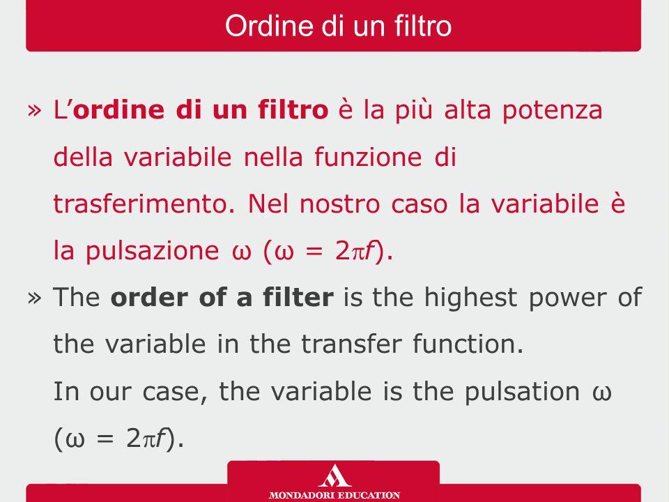 »L'ordine di un filtro è la più alta potenza della variabile nella funzione di trasferimento. Nel nostro caso la variabile è la pulsazione ω (ω = 2f)