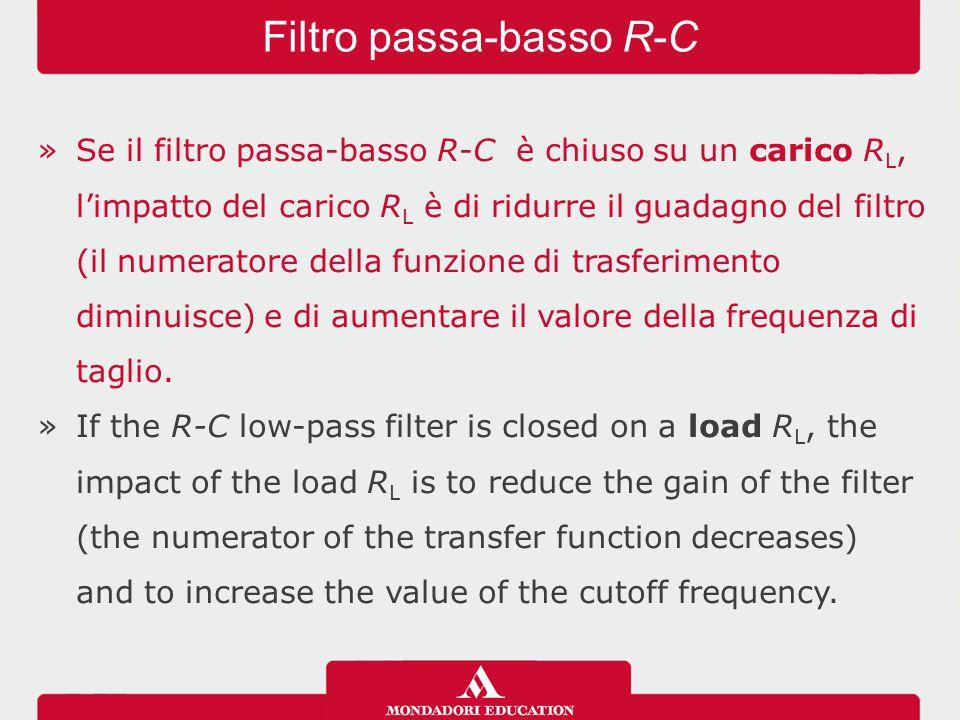 »Se il filtro passa-basso R-C è chiuso su un carico R L, l'impatto del carico R L è di ridurre il guadagno del filtro (il numeratore della funzione di