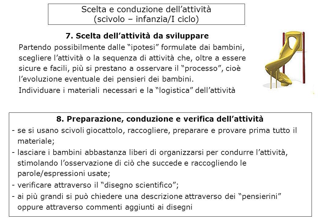 Scelta e conduzione dell'attività (scivolo – infanzia/I ciclo) 7.