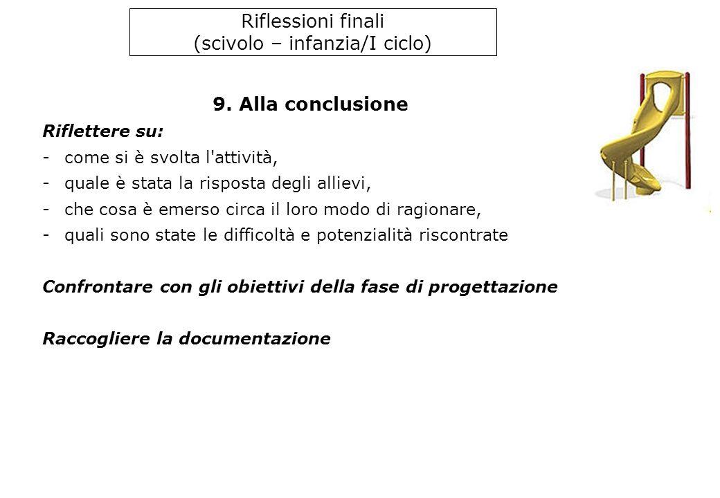 Riflessioni finali (scivolo – infanzia/I ciclo) 9.