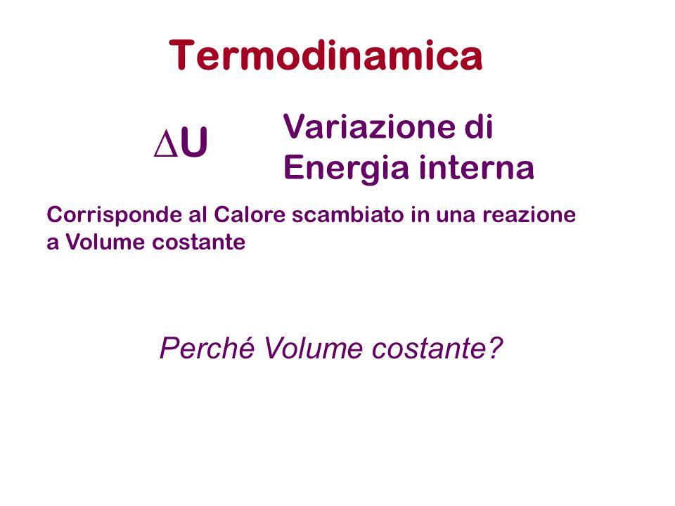 Termodinamica UU Variazione di Energia interna Corrisponde al Calore scambiato in una reazione a Volume costante Perché Volume costante?