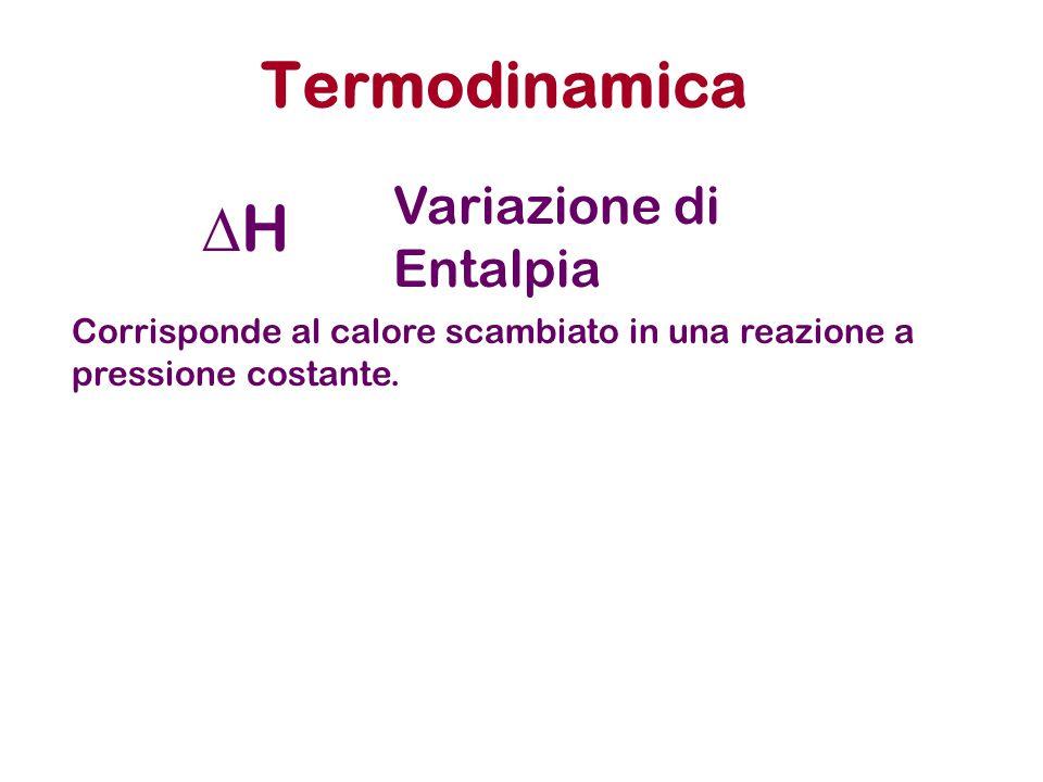 Termodinamica HH Variazione di Entalpia Corrisponde al calore scambiato in una reazione a pressione costante.