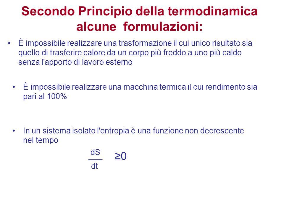 Secondo Principio della termodinamica alcune formulazioni: È impossibile realizzare una trasformazione il cui unico risultato sia quello di trasferire