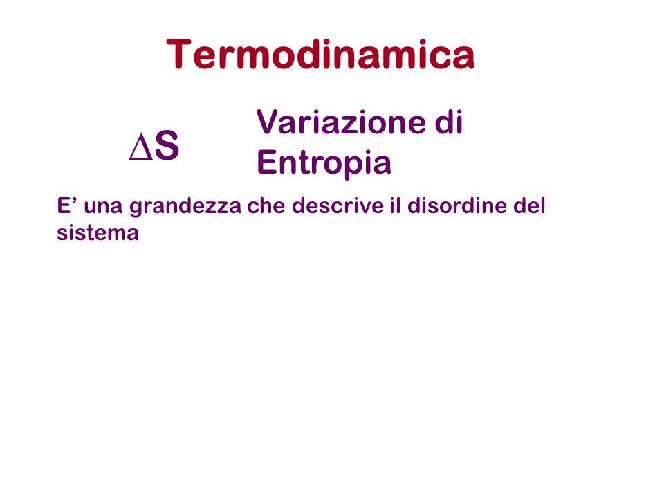 Termodinamica SS Variazione di Entropia E' una grandezza che descrive il disordine del sistema