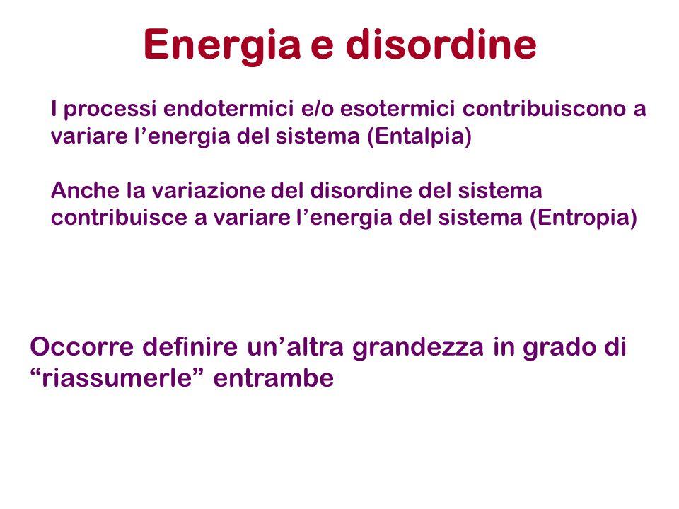 Energia e disordine I processi endotermici e/o esotermici contribuiscono a variare l'energia del sistema (Entalpia) Anche la variazione del disordine