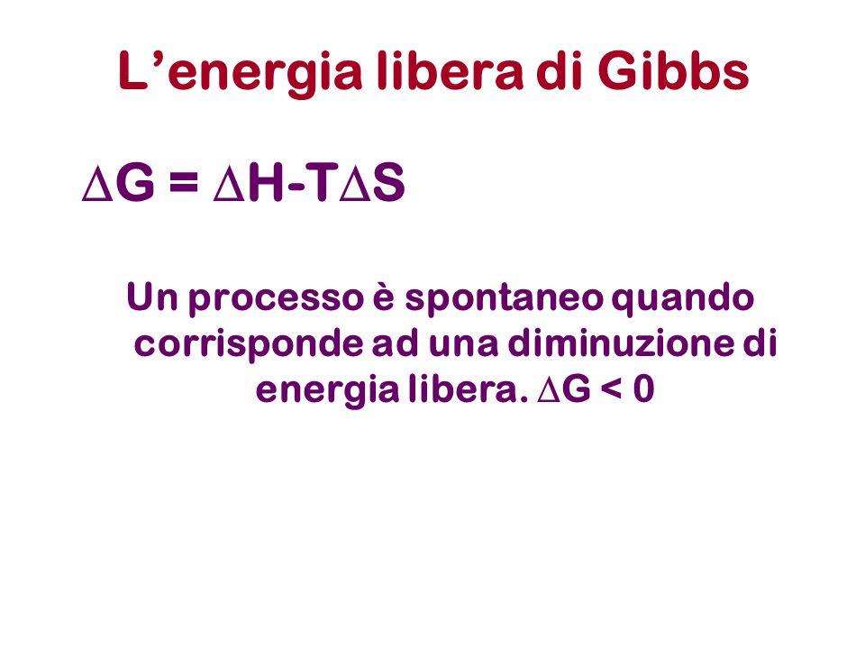 L'energia libera di Gibbs  G =  H-T  S Un processo è spontaneo quando corrisponde ad una diminuzione di energia libera.  G < 0