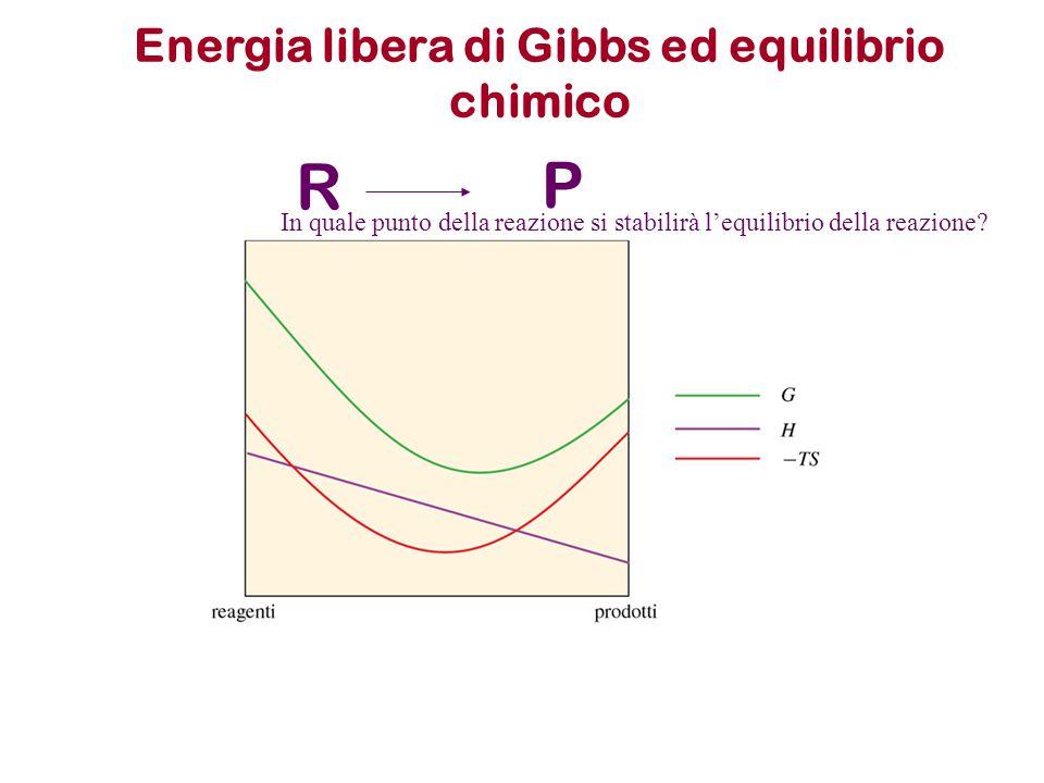 R P In quale punto della reazione si stabilirà l'equilibrio della reazione? Energia libera di Gibbs ed equilibrio chimico