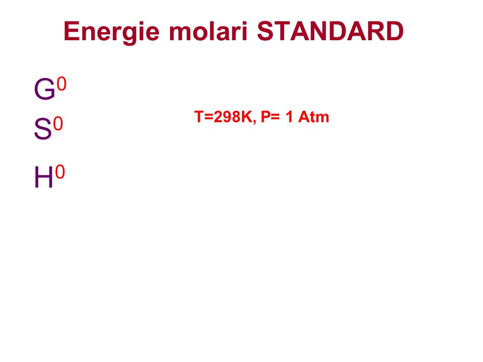 Energie molari STANDARD G0G0 S0S0 H0H0 T=298K, P= 1 Atm