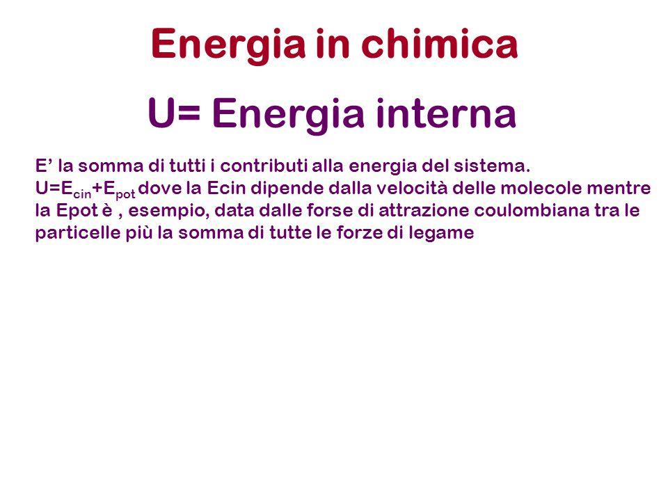 Energia in chimica U= Energia interna E' la somma di tutti i contributi alla energia del sistema. U=E cin +E pot dove la Ecin dipende dalla velocità d