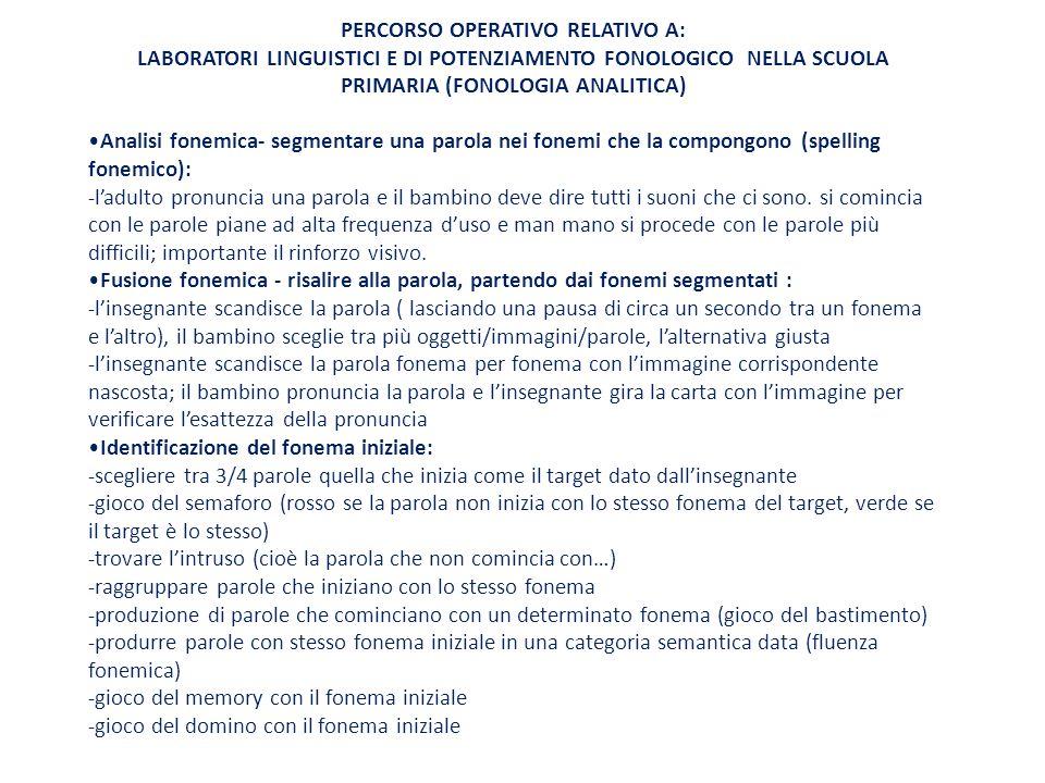 PERCORSO OPERATIVO RELATIVO A: LABORATORI LINGUISTICI E DI POTENZIAMENTO FONOLOGICO NELLA SCUOLA PRIMARIA (FONOLOGIA ANALITICA) Analisi fonemica- segm