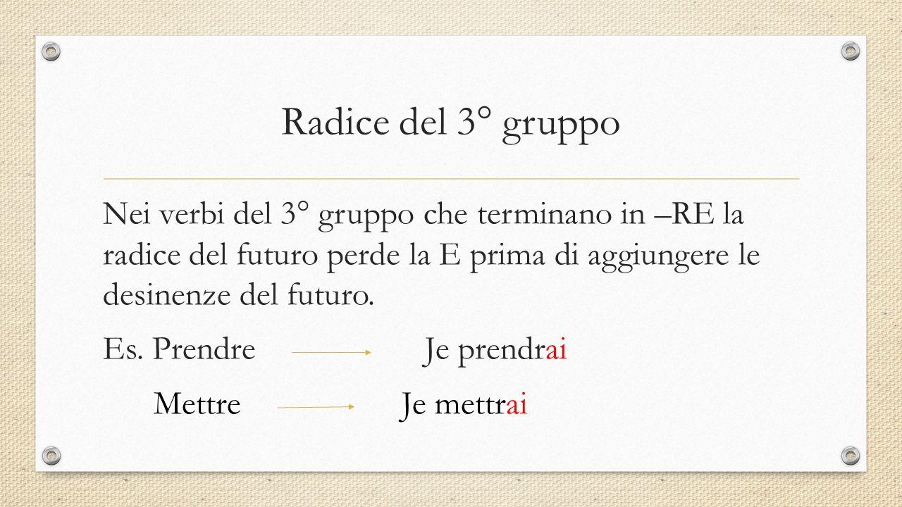 Radice del 3° gruppo Nei verbi del 3° gruppo che terminano in –RE la radice del futuro perde la E prima di aggiungere le desinenze del futuro. Es. Pre